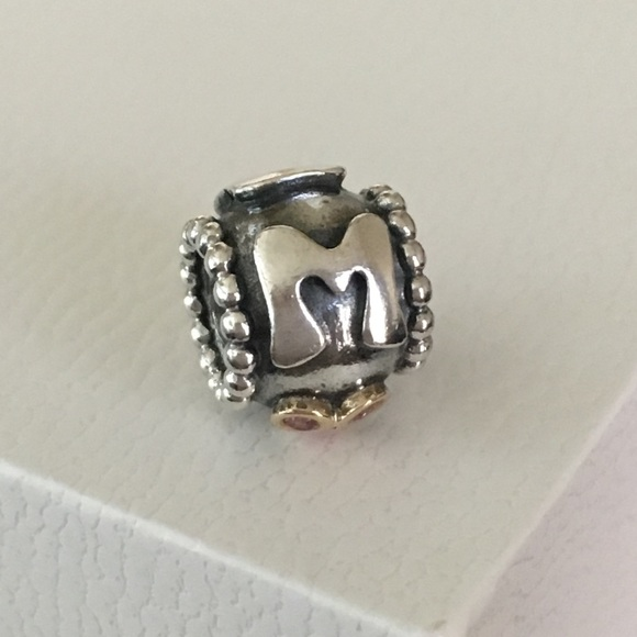 21c932d98 Pandora Retired MOM Charm w/ 14k Gold Pink CZ. M_5b96d215194dad4d1ab8c0f6
